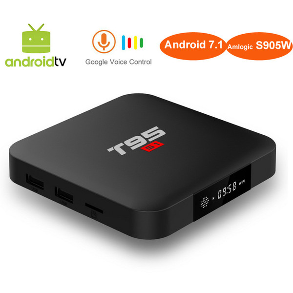 Google Voice Control Android 7.1 TV Box AndroidTV OS 2GB 16GB Amlogic S905W Quad Core 2.4GHz WiFi Media Player Voice Remote Control T95 S1
