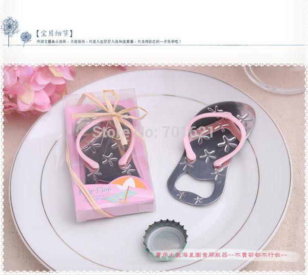 High quality Flip flop wine bottle opener with starfish wedding favor bridal shower guest gift (Pink Color)120PCS/LOT
