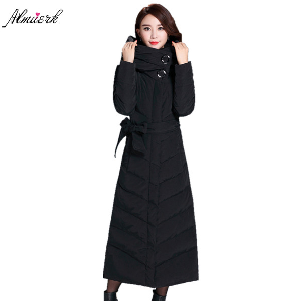 Extra long winter women jacket coats 2017 hooded thick down feather cotton parkas Belt slim warm winter jackets outerwear yz410