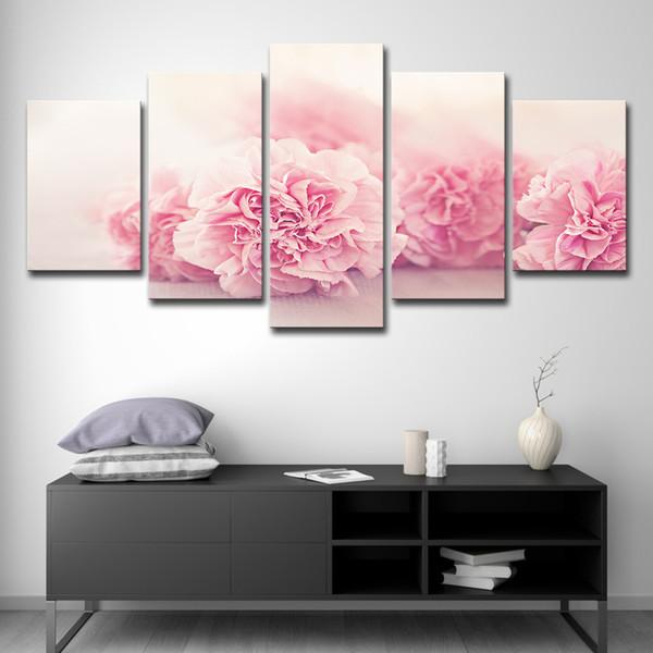 Acquista Quadri Moderni HD Tela Stampata Su Dipinti Ad Olio Soggiorno  Parete Art 5 Pannello Poster Di Fiori Rosa Garofani A $16.41 Dal ...