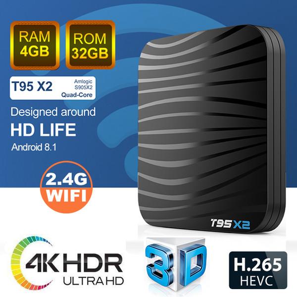 Latest Amlogic S905X2 Android TV Box 4GB 32GB Digital Display Mini 4K Ultra Smart TV Media Player Sunvell T95X2 Internet Streaming Box