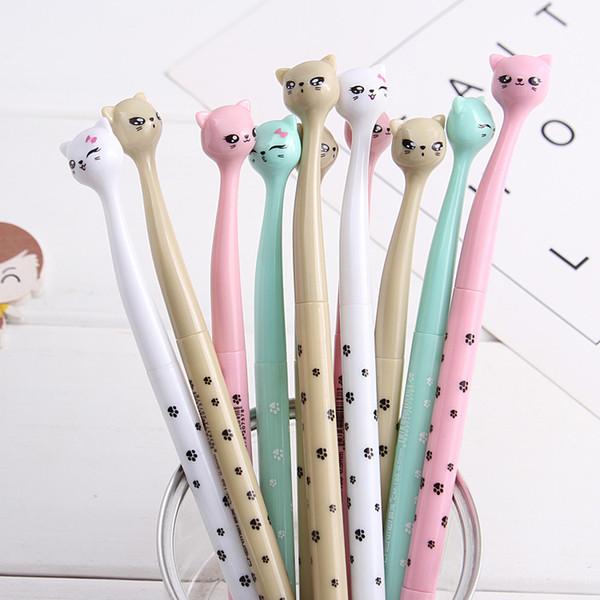 (1pcs/sell) Crooked Cat Head Gel Pen Set Key Kawaii School Supplies Office Stationary Photo Album Kawaii Pens School Stationery