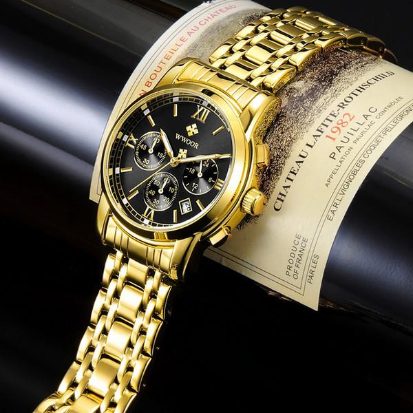 2018 New Gold Quartz Wristwatch Men Watches Top Brand Luxury Stainless Steel Male Wrist Watch Golden Clock Relogio Masculino