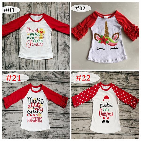 best selling xmas christmas Baby girls boy Flower unicorn print T-shirts autumn Ruffle Long sleeve shirt Tops 100% cotton children Tees top kids Clothing