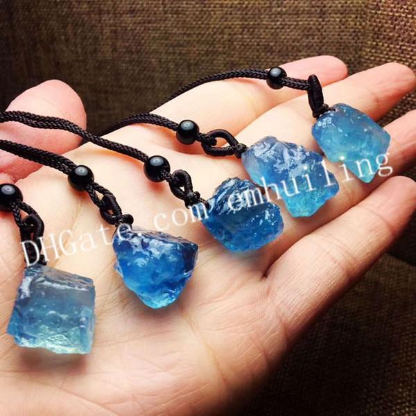 Random Size Irregular Natural Raw Aquamarine Crystal Necklace Rough Icy Blue Aquamarine Gemstone Pendant Necklace March Birthstone Necklace