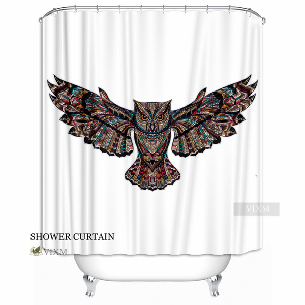 """Vixm Home Colorful Wings Owl Fabric Shower Curtains Cartoon Animal Crystal Customized Bath Curtain for Bathroom With Hooks Ring 72"""" X 72"""""""