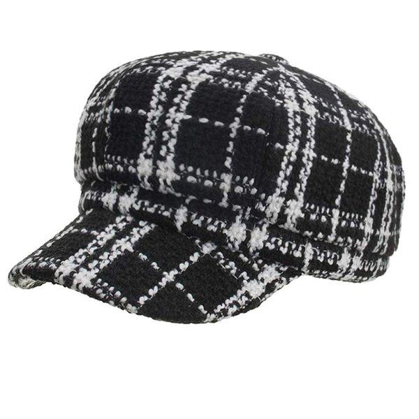 Women's Autumn Winter Beret Hat Plaid Newsboy Cap Black White Vintage Style Size 57CM