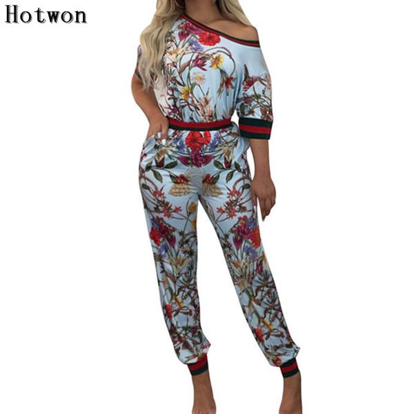 Women Jumpsuit 2 Piece Outfits Floral Printed Top Long Pants Bodycon Casual Set
