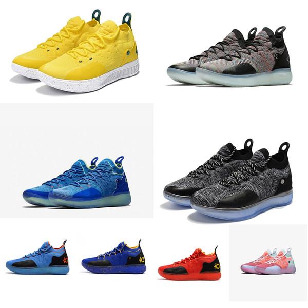 Ucuz yeni Kadın kd 11 basketbol ayakkabıları Oreo Mavi Sarı Siyah Erkek Kız gençlik çocuklar Kevin Durant KD11 XI hava uçuşla ...