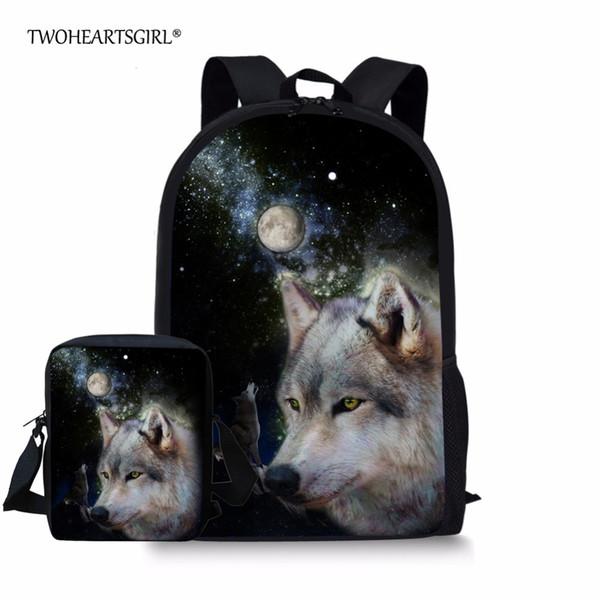 141636d5f33d Twoheartsgirl Cool Print 3d Animal Wolf Schoolbag Set for Teenager Boys  Girls Unique Student Kids School Bag High School Bookbag