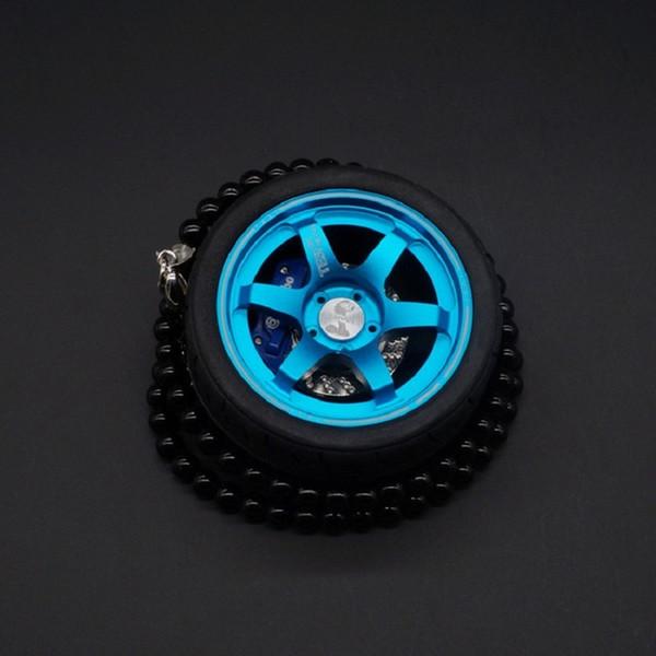 Car Tires Model Metal Wheel Keychain Leather Rope Men Car Wheel Bead Chain Pendant Aluminum Alloy Holder