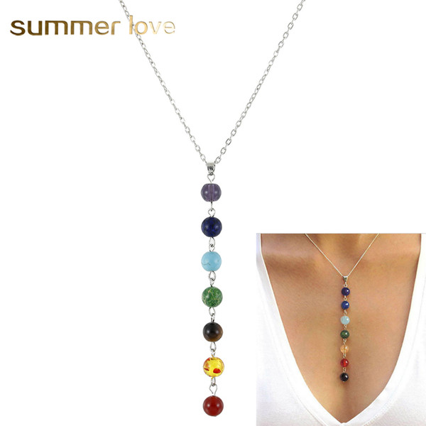 top popular Silver Color Simple Style 7 Chakra Multicolor Natural Stone Beads Pendant Necklace Long Chain For Women Charm Collier Collares Yoga Jewelry 2021