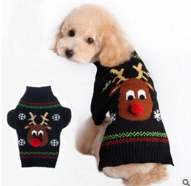 Christmas Pet Clothes Cute Red Nose Reindeer Dog Cat Sweaters Winter Warm Christmas Elk Pet Dog Apparel Red Black