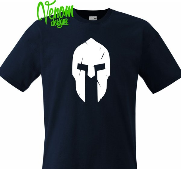 SPARTAN HELM 2 MENS T-Shirt TRAINING GYM TRAINING BODYBUILDING MMA FITNESS oben
