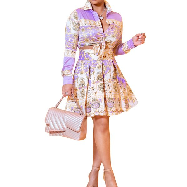 Two Piece Set Dress for Women Autumn Winter V Neck Long Sleeve Crop Tops + Mini Pleated Skirts Suits Office Lady Tunic vestidos D18103105