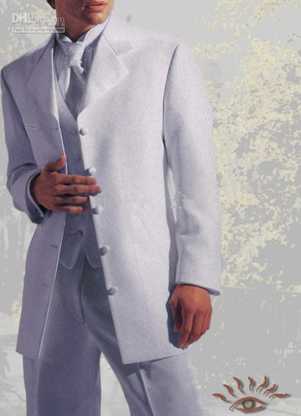 New Style Five Buttons White Groom Tuxedos Man Blazer Prom Dress Suit Wedding Suits 189