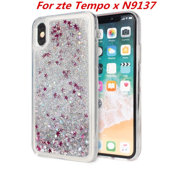Quicksand Case For Zte Blade Force WARP 8 N9517 Tempo X N9137 Max Xl N9560  Zmax Pro Z981 Metropcs Glitter Liquid Cover C Ballistic Cell Phone Cases