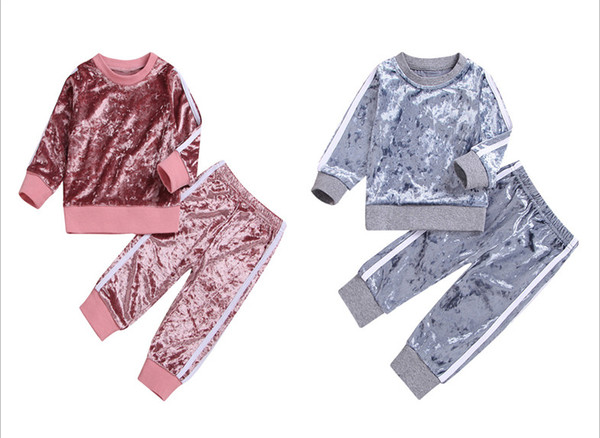 2018 New Autumn Baby Girls Sets Kids Sports Striped Velvet Top +Pants 2pcs Suit Children Fashion Casual Outfits Pink and Gray High Quality