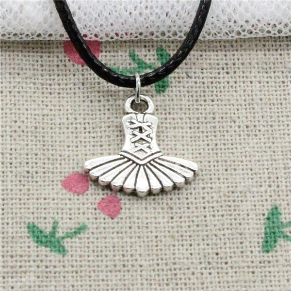 New Fashion Tibetan Silver Pendant ballet dress tutu ballerina 17*17mm Necklace Choker Charm Black Leather Cord Handmade Jewelry