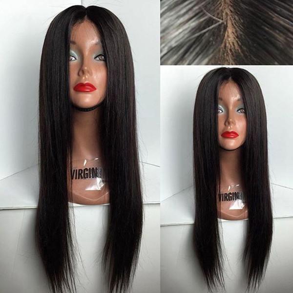 180% densité soyeuse perruque de cheveux humains avant de dentelle droite pour Black Wowen perruques de dentelle complète brésilienne cheveux remy avec cheveux de bébé