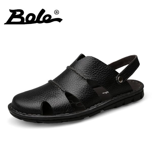 BOLE New Men Causal Sandals Summer Fashion Designer Genuine Leather Men Sandals Breathable Cozy Beach Flats Slippers