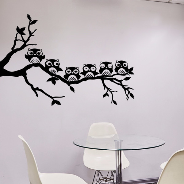 2018 New Design Owl Tree Wall Sticker Removable Vinyl Wall Decal Animal Art Mural For Kids Rooms Bedroom Home Decor