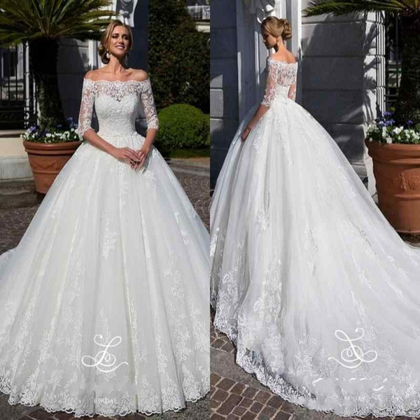 2018 Arabic Ball Gown Wedding Dresses Off Shoulder Lace Appliques Half Sleeves Sashes Court Train With Jacket Plus Size Formal Bridal Gowns