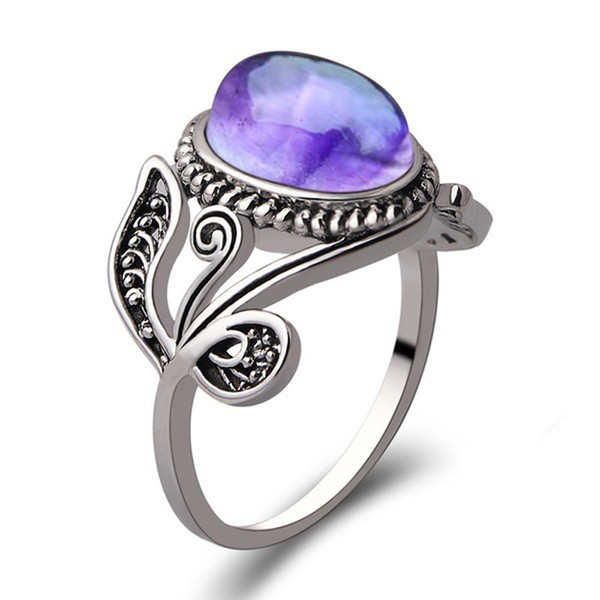 Trendy Simple Purple Crystal Stone Ring for Women Retro Classic Wedding Engagement Rings Thai Silver Color Finger Jewelry anel