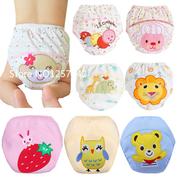 2PCS Washable Baby Cloth Diaper Cover Waterproof Cartoon Baby Diapers Reusable Cloth Nappy Training Pants Underwear