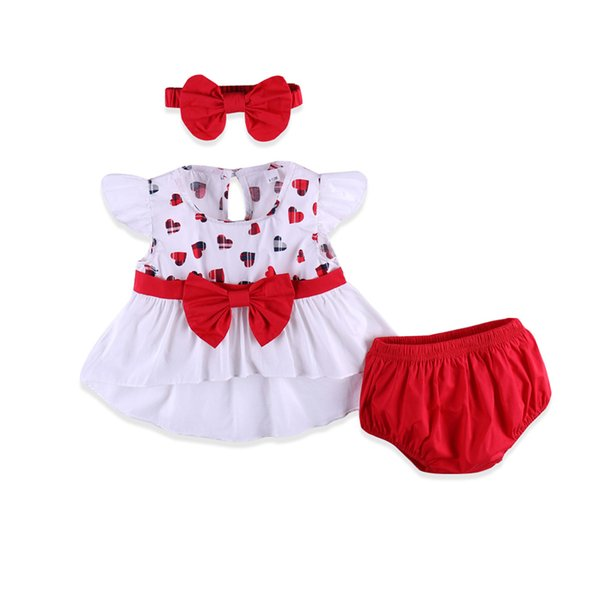 Summer little baby girl clothes set heart shape pattern ruffle sleeves cute tops PP pants Headband 3pcs newborn toddler outfit for infant