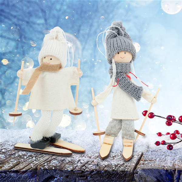 christmas decorations Cute Angel Girl Ski Doll hanging Pendant Ornaments Xmas Tree outdoor windows Party Decoration New Year Kids Gift