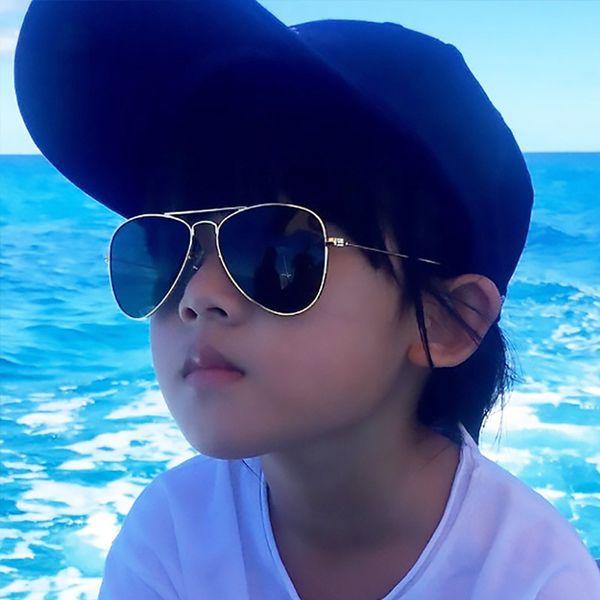 [EL Malus] Retro Niños Aviación Gafas de sol UV400 Gafas de montura dorada Niño Niños UV400 Piloto Gafas de sol Gafas Chicas Niños SG014