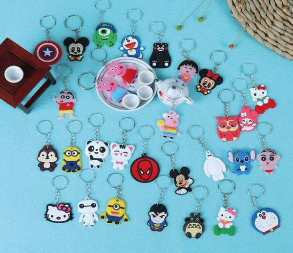 Kids Toys Gifts Keychains Single sided Cartoon Silicone Keychains Back No Cartoon Patterns Shop Kindergarten Gifts wholesale free shipping