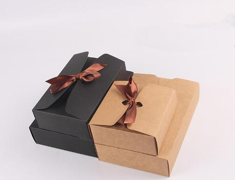Baking kraft paper box Bow tie rope gift box Snack cake packing boxes12*12*5cm