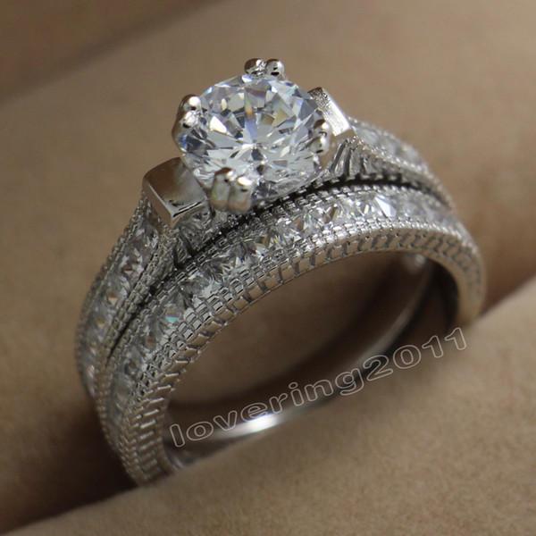 Size 5/6/7/8/9/10 Antique Fashion jewelry round Cut Topaz 14KT White Gold Filled GF Simulated Diamond CZ Women Wedding Bridal Ring Set gift