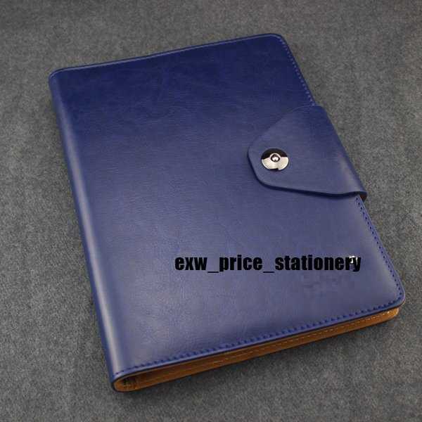 Leather Magnetic Notepads Blue travel Diary Agenda Luxury Office School Supplies Notebooks Handmade Personal Gift Stationery