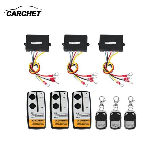 CARCHET Universal 3pcs Winch Wireless Remote Control Kit 12V 50FT For Jeep Truck SUV ATV For Self-recovery Winch car