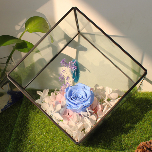15*15CM Miniature Glass Terrarium Geometric Diamond Desktop Garden Planter For Indoor Gardening Home Decor Vases FWX9-674