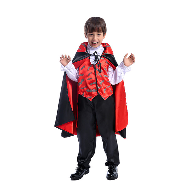 Awesome Scary Child Boys The Most Famous Vampire Dracula Darkness Prince Halloween Cosplay Costume Great Kids Party Fancy-Dress