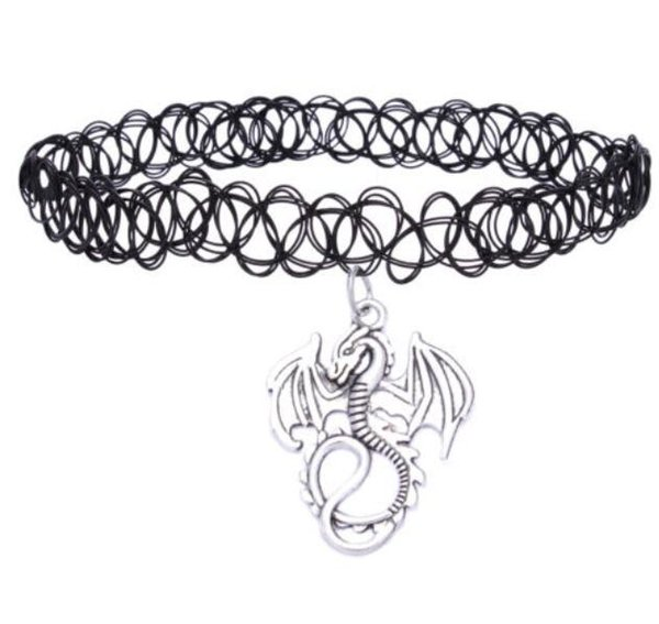 Retro Hippy Elasticity Henna Tibetan Silver Dragon Pentagram Ankh Cross Musical Note Flower Tortois Tattoo Choker Necklace For Women Jewelry