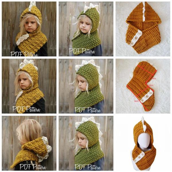 2 in 1 Dinosaur scarf cap Kids AMUSE Infant Beanies Warm Knitted Hats Children cartoon warmer Winter crochet Hat 12pcs 2Colors AAA1209