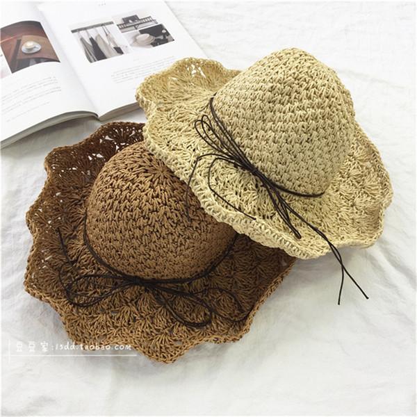 Handgemachte Häkelarbeit Weben Strohhut Faltbare Sommer Strand Bogen Sonnenhüte Für Frauen Damen Outdoor Beach Sun Shade Cap Hüte Chapeu