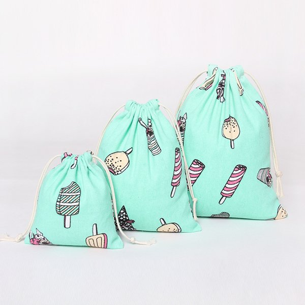 Make Up Tools Cloth Bag Coon Linen Drawstring Cartoon Print Sky Blue Color Candy Bags for Sundries Free Shipping