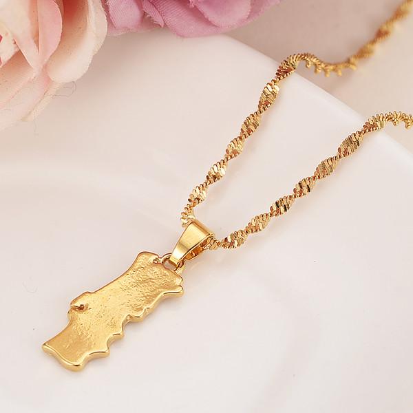 Portogallo mappa ciondolo oro Collana ciondolo collana femminile bijoux gioielli regali per le donne ragazze ciondoli fai da te