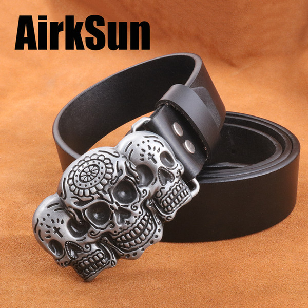AirkSun 2017  Buckle Fashion tactical Big Size belts for men luxury Cowskin Soild Genuine leather Belt Men Cinto 130cm