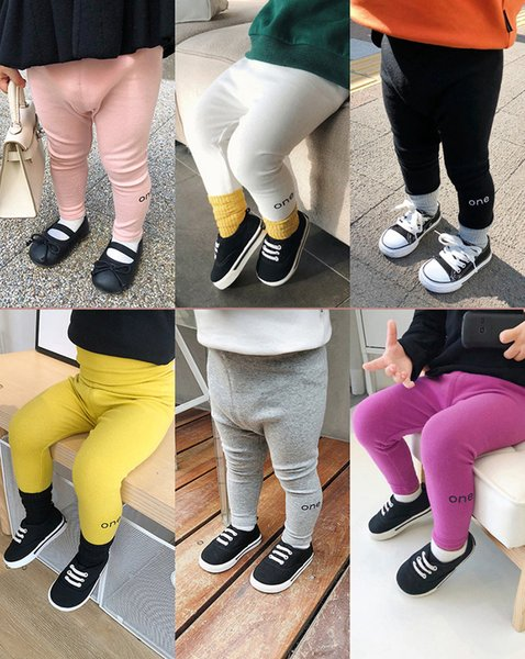 Solid Color Baby Leggings Boutique Cotton High Waisted Leggings Thick Little Girl Leggings 5 Color for choose 18101601
