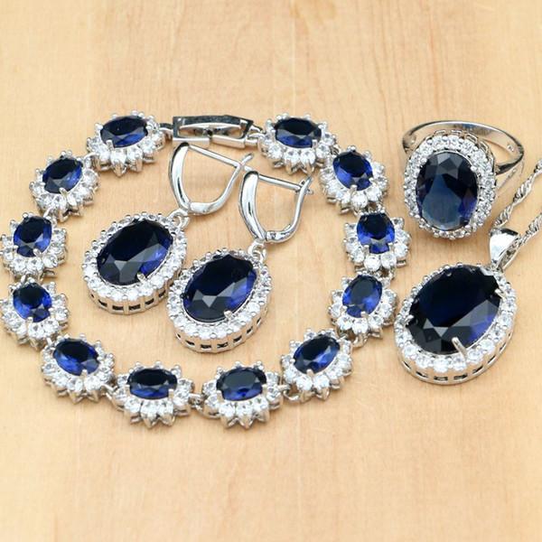 925 gioielli in argento sterling gioielli blu zircone bianco cz set di gioielli per orecchini da donna / pendente / collana / anelli / bracciale