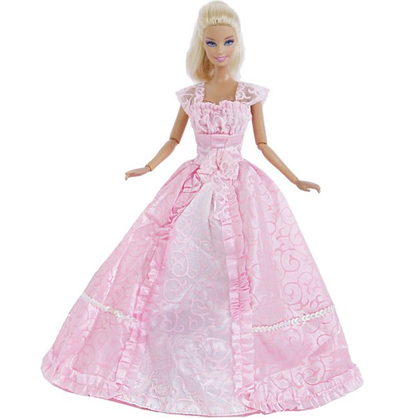 Handmade Pink Dress Evening Party Gown Long Lace Skirt Princess Bride Clothes For Doll Accessories Kid Baby Girl Gift Toy