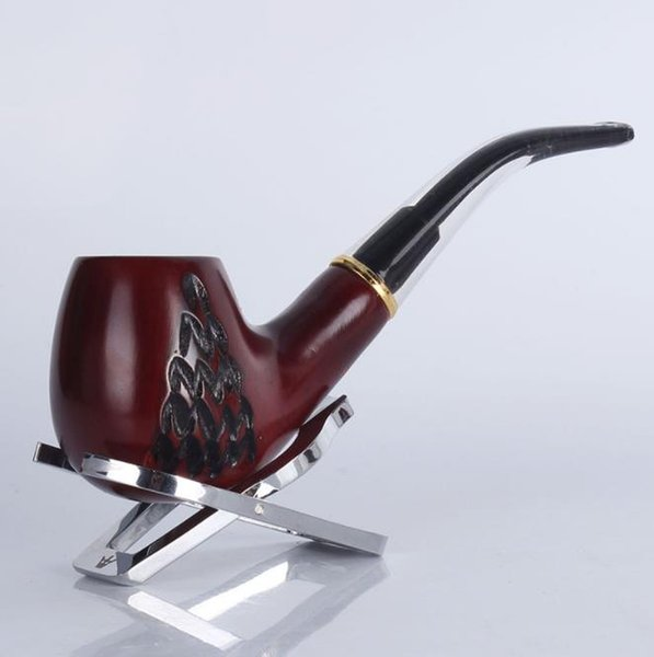 8014 red sandalwood wood carving tobacco pipe high-grade metal ring filter cigarette holder fittings solid wood old pipe