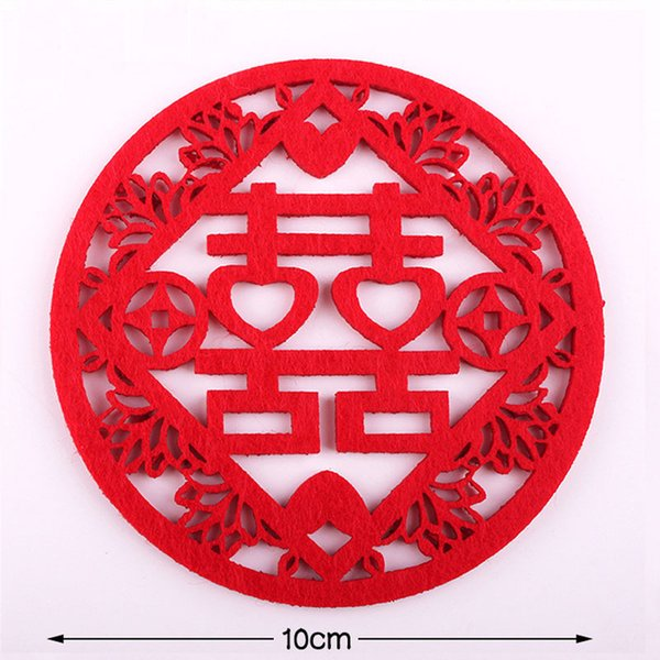 500pcs Traditional Chinese Style Double Happiness Coasters Non-woven Fabric Wedding Table Decoratioon Party Favor Gift
